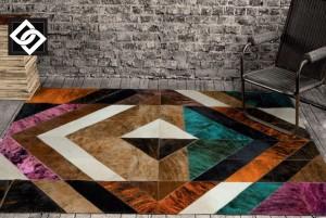 LSLLS005 COLUMBIA covor dreptunghi geometric piele romb culoare mix
