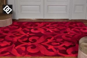 LSLLS009 DORA covor dreptunghi ornament piele rosu
