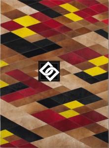 PSLLS001 AKRON covor dreptunghi geometric piele rosu galben bej negru