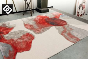 LSLHT007 COLEEN covor vascoza abstract rosu gri alb bej mix