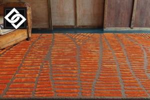 LSLHT011 ENIA covor vascoza abstract lucrat manual oranj geometric