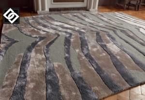 LSLHT018 MADHA covor lana vascoza dungi culoare gri maro kaki mix