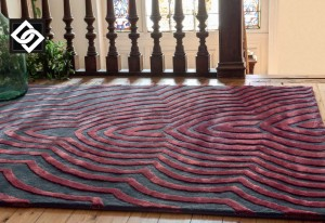 LSLHT020 MISCHA covor lana vascoza geometric dungi rosu gri