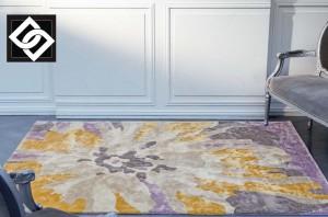 LSLHT022 MISIA covor vascoza lucrat manual abstract galben bej lila crem mix
